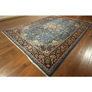 GT624 Amazing Rare Blue/ Dark Blue Isfahan Hand-knotted Floral Wool Rug (9' x 12')