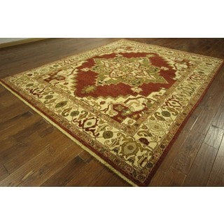 H8164 Turkish Double Knotted Red Heriz Serapi Hand-knotted Wool Area Rug (9' x 11')
