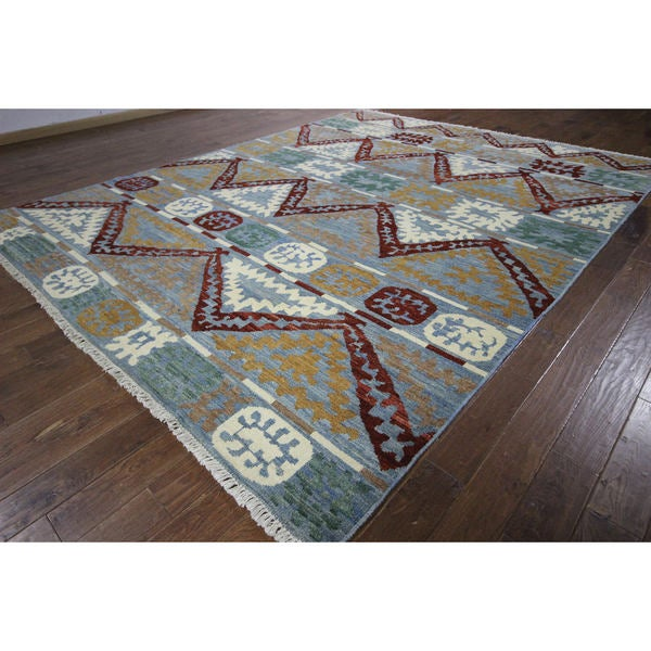 H8785 Tribal Design South Western Blue Hand-knotted Wool