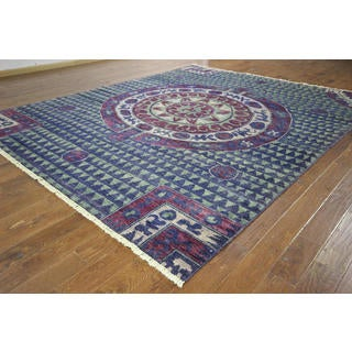 H8789 Unique Blue Kaitag Collection Modern Hand-knotted Wool Area Rug (10' x 12')