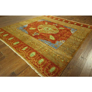 H8794 Unique Light Brown Orange and Blue Kaitag Hand-knotted Wool Area Rug (9' x 10')