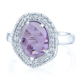 14karat White Gold Amethyst and 1/5ct TDW Diamond Ring (H-I, VS1-VS2)