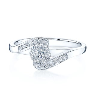 14k White Gold 1/4ct TDW Diamond Bypass Engagement Ring (H-I, VS1-VS2)