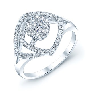 14k White Gold 1/2ct TDW Diamond Swirl Ring