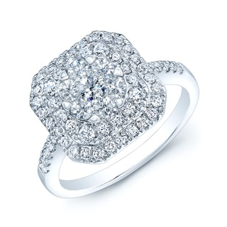 14k White Gold 7/8ct TDW Cushion-shaped Diamond Ring