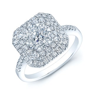 14k White Gold 7/8ct TDW Cushion-shaped Diamond Ring (H-I, VS1-VS2)