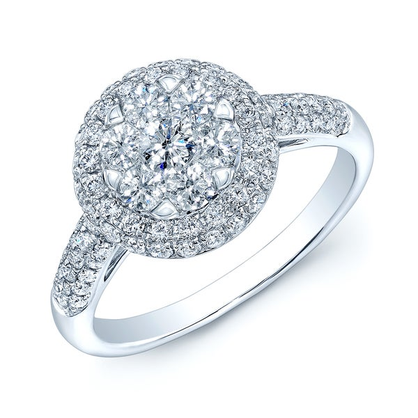 14k White Gold 1ct TDW Diamond Pave Ring