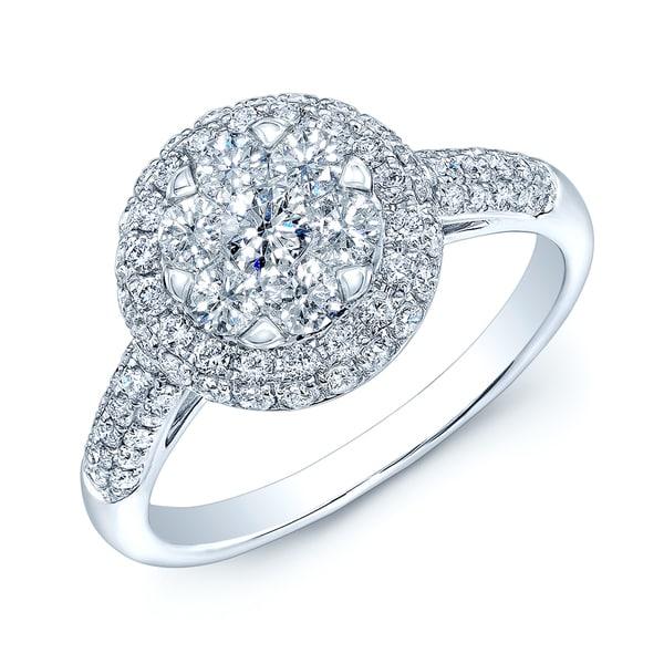 14k White Gold 1ct TDW Diamond Pave Ring
