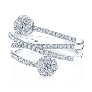 14k White Gold 1ct TDW Diamond Crossover Pave Ring (H-I, VS1-VS2)