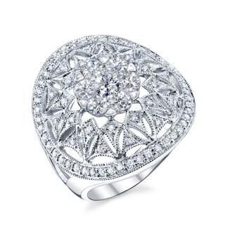 14k White Gold 7/8ct TDW Diamond Vintage-inspired Cocktail Ring