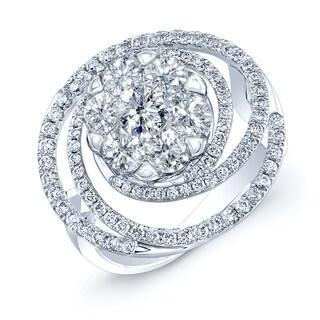 14k White Gold 1 1/6ct TDW Diamond Swirl Ring - White H-I