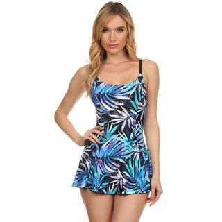 Dippin Daisy's Blue Leaves One Piece Swimdress