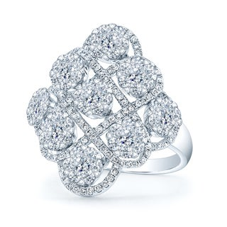 14k White Gold 1 5/8ct TDW Diamond Cocktail Ring (H-I, VS1-VS2)