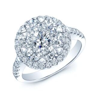 14k White Gold 2ct TDW Diamond Halo Ring (H-I, VS1-VS2)