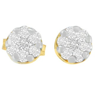 14k Yellow Gold 1/2ct TDW Round Cut Diamond Earrings