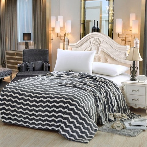 Chevron Microfleece Blanket