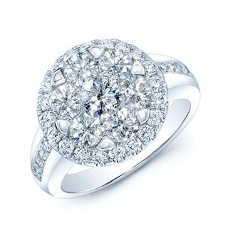 14k White Gold 1 5/8ct TDW Diamond Halo Ring (H-I, VS1-VS2)