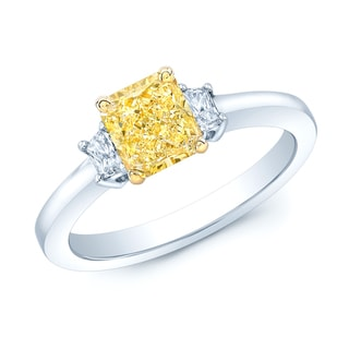 Platinum and 18k Yellow Gold 1 1/10ct GIA-certified Fancy Intense Yellow Diamond Engagement Ring (H-I, SI1-SI2)