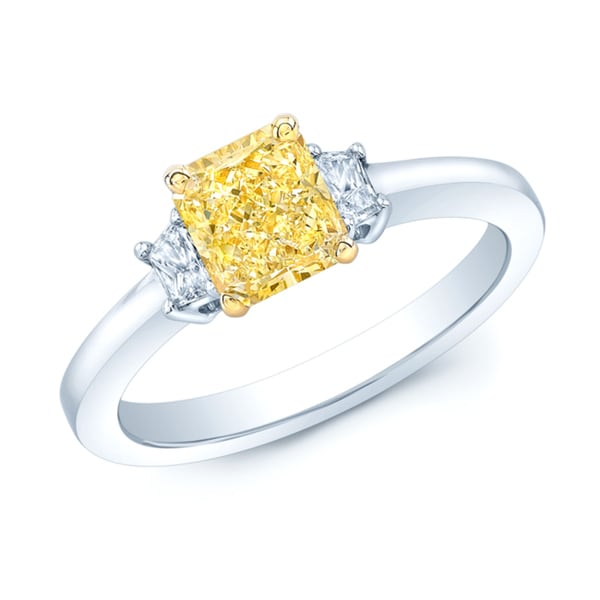 Platinum and 18k Yellow Gold 1 1/10ct GIA-certified Fancy Intense Yellow Diamond Engagement Ring