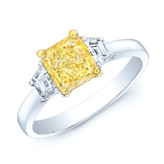 Platinum and 18k Yellow Gold 1 1/2ct GIA-certified Fancy Light Yellow Diamond Engagement Ring (H-I, VS1-VS2)