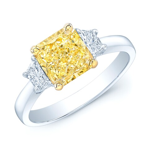 Platinum and 18k Yellow Gold 2 1/10ct GIA-certified Fancy Light Yellow Diamond Ring
