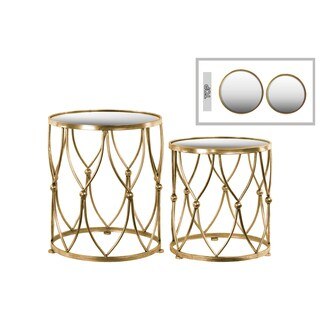 Metal Round Table with Beveled Mirror Top Distressed Metal Finish Gold (Set of 2)