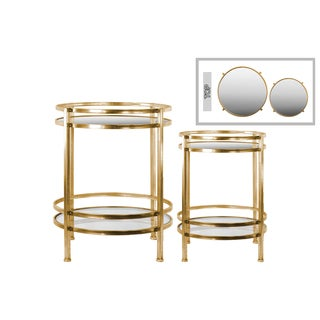 Metal Round Table with Beveled Mirror Top and Clear Glass Base Shelf Distressed Metal Finish Champagne (Set of 2)