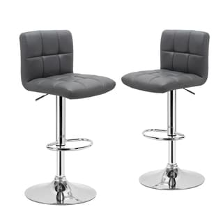Adeco Adjustable Chrome Finished Bar Stool Chairs (Set of 2)