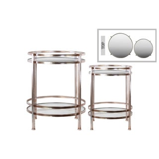 Metal Round Table with Beveled Mirror Top and Clear Glass Base Shelf Distressed Metal Finish Gold (Set of 2)