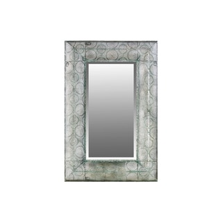 Metal Rectangular Wall Mirror Pierced Metal Design Verdigris