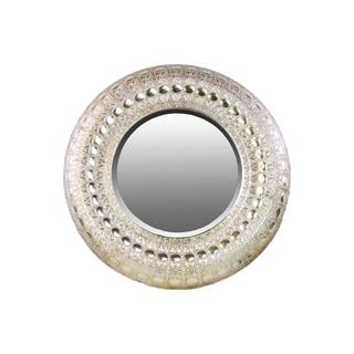 Metal Circular Wall Mirror Pierced Metal Design Champagne