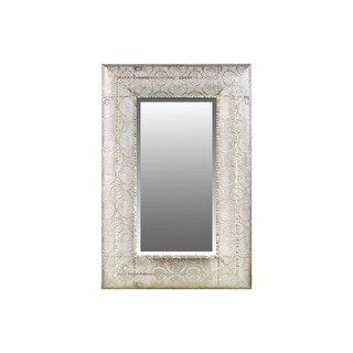 Metal Rectangular Wall Mirror Pierced Metal Design Champagne