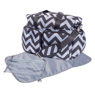Trend Lab Black and Grey Chevron Deluxe Duffle Diaper Bag
