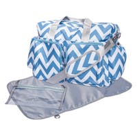 Trend Lab Blue and White Chevron Deluxe Duffel Diaper Bag