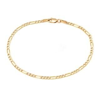 Pori 10k Yellow Gold Unisex Italian Figaro Bracelet