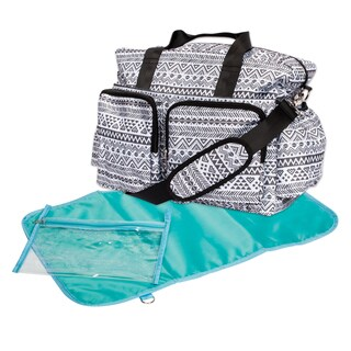 Trend Lab Black and White Aztec Deluxe Duffel Diaper Bag
