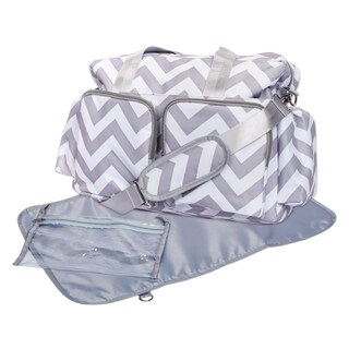 Trend Lab Grey and White Chevron Deluxe Duffel Diaper Bag