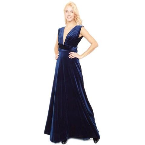 Women's Long Maxi Velvet Dress Convertible Wrap Cocktail Gown Bridesmaid Multi Way Dresses One Size Fits 0-12