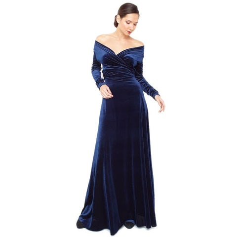Women's Velvet Long Sleeve Convertible Front-to-Back Maxi Dress Cocktail Gown