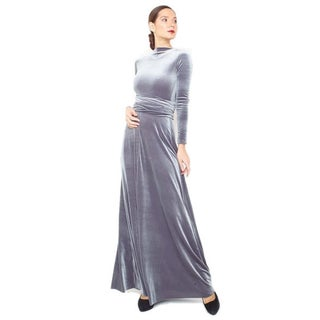 Women's Velvet Long Sleeve Convertible Front-to-Back Maxi Dress Cocktail Gown (3 options available)