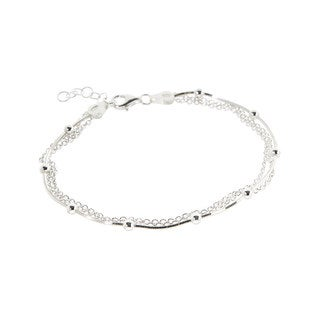 Pori Sterling Silver Multi-Strand Rolo and Diamond-cut Snake with Beads Bracelet
