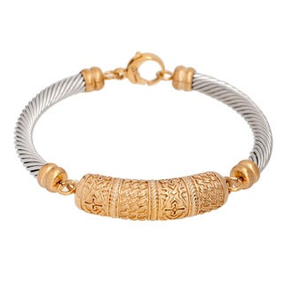 Pori Two-tone 18k Goldplated Twisted Bangle