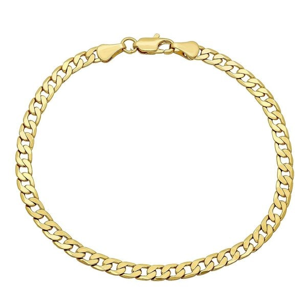 8f5a215eb Shop Pori Men's 14k Gold Cuban Chain Bracelet - Free Shipping Today ...