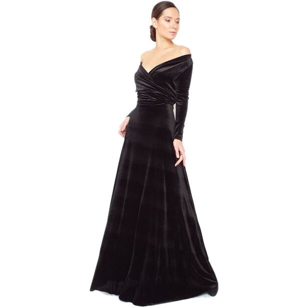Womens Velvet Long Sleeve Convertible Front-to-Back Maxi Dress Cocktail Gown