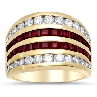 14k Yellow Gold 1 1/3ct TDW Diamond and Ruby Ring (F-G, SI1-SI2)