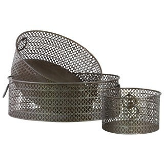 Metal Elliptical Basket Tray with Mesh Design Sides and Ring Handles Dark Bronze (Set of 3)
