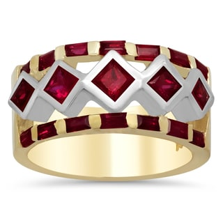 14k Two-tone Gold 2ct TGW Ruby Ring