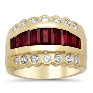 14k Yellow Gold 3/4ct TDW Diamond and Ruby Ring ( F-G, SI1-SI2)