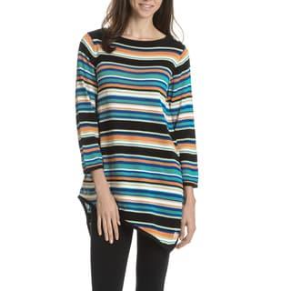 Joan Vass New York Women's Stripe Asymmetrical Hem Tunic Sweater