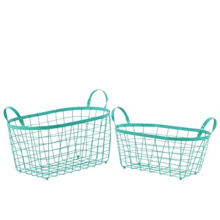 Metal Wire Basket with Handles and Mesh Body Coated Aquamarine (Set of 2)